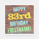 [ Thumbnail: Brick Wall Graffiti Inspired 83rd Birthday + Name Napkin ]
