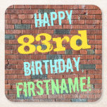 [ Thumbnail: Brick Wall Graffiti Inspired 83rd Birthday + Name Paper Coaster ]