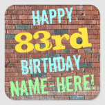 [ Thumbnail: Brick Wall Graffiti Inspired 83rd Birthday + Name Sticker ]