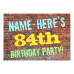 [ Thumbnail: Brick Wall Graffiti Inspired 84th Birthday + Name Invitation ]