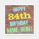[ Thumbnail: Brick Wall Graffiti Inspired 84th Birthday + Name Paper Napkin ]