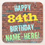 [ Thumbnail: Brick Wall Graffiti Inspired 84th Birthday + Name Paper Coaster ]