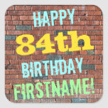 [ Thumbnail: Brick Wall Graffiti Inspired 84th Birthday + Name Sticker ]