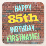 [ Thumbnail: Brick Wall Graffiti Inspired 85th Birthday + Name Paper Coaster ]