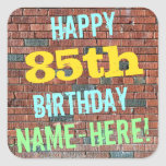 [ Thumbnail: Brick Wall Graffiti Inspired 85th Birthday + Name Sticker ]
