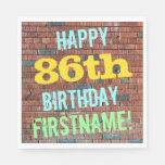 [ Thumbnail: Brick Wall Graffiti Inspired 86th Birthday + Name Napkin ]