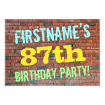[ Thumbnail: Brick Wall Graffiti Inspired 87th Birthday + Name Invitation ]