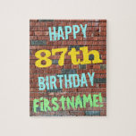 [ Thumbnail: Brick Wall Graffiti Inspired 87th Birthday + Name Jigsaw Puzzle ]