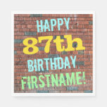 [ Thumbnail: Brick Wall Graffiti Inspired 87th Birthday + Name Paper Napkin ]