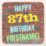 [ Thumbnail: Brick Wall Graffiti Inspired 87th Birthday + Name Paper Coaster ]