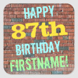 [ Thumbnail: Brick Wall Graffiti Inspired 87th Birthday + Name Sticker ]