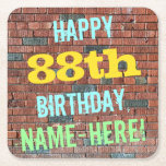 [ Thumbnail: Brick Wall Graffiti Inspired 88th Birthday + Name Paper Coaster ]