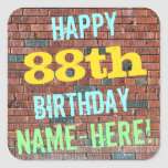 [ Thumbnail: Brick Wall Graffiti Inspired 88th Birthday + Name Sticker ]