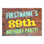 [ Thumbnail: Brick Wall Graffiti Inspired 89th Birthday + Name Invitation ]