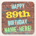[ Thumbnail: Brick Wall Graffiti Inspired 89th Birthday + Name Paper Coaster ]