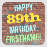 [ Thumbnail: Brick Wall Graffiti Inspired 89th Birthday + Name Sticker ]