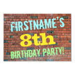 [ Thumbnail: Brick Wall Graffiti Inspired 8th Birthday + Name Invitation ]