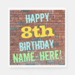 [ Thumbnail: Brick Wall Graffiti Inspired 8th Birthday + Name Paper Napkin ]
