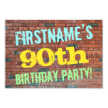 [ Thumbnail: Brick Wall Graffiti Inspired 90th Birthday + Name Invitation ]