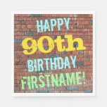 [ Thumbnail: Brick Wall Graffiti Inspired 90th Birthday + Name Napkin ]