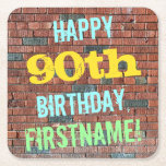 [ Thumbnail: Brick Wall Graffiti Inspired 90th Birthday + Name Paper Coaster ]