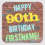 [ Thumbnail: Brick Wall Graffiti Inspired 90th Birthday + Name Sticker ]