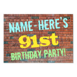 [ Thumbnail: Brick Wall Graffiti Inspired 91st Birthday + Name Invitation ]
