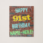 [ Thumbnail: Brick Wall Graffiti Inspired 91st Birthday + Name Jigsaw Puzzle ]