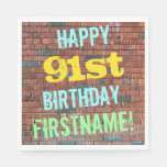 [ Thumbnail: Brick Wall Graffiti Inspired 91st Birthday + Name Paper Napkin ]