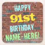 [ Thumbnail: Brick Wall Graffiti Inspired 91st Birthday + Name Paper Coaster ]