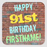 [ Thumbnail: Brick Wall Graffiti Inspired 91st Birthday + Name Sticker ]