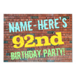 [ Thumbnail: Brick Wall Graffiti Inspired 92nd Birthday + Name Invitation ]