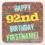 [ Thumbnail: Brick Wall Graffiti Inspired 92nd Birthday + Name Paper Coaster ]