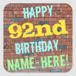 [ Thumbnail: Brick Wall Graffiti Inspired 92nd Birthday + Name Sticker ]