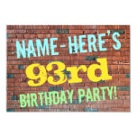 [ Thumbnail: Brick Wall Graffiti Inspired 93rd Birthday + Name Invitation ]