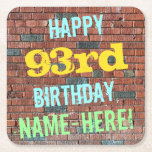 [ Thumbnail: Brick Wall Graffiti Inspired 93rd Birthday + Name Paper Coaster ]