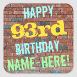 [ Thumbnail: Brick Wall Graffiti Inspired 93rd Birthday + Name Sticker ]