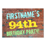 [ Thumbnail: Brick Wall Graffiti Inspired 94th Birthday + Name Invitation ]