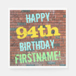[ Thumbnail: Brick Wall Graffiti Inspired 94th Birthday + Name Napkin ]