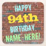 [ Thumbnail: Brick Wall Graffiti Inspired 94th Birthday + Name Paper Coaster ]
