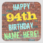 [ Thumbnail: Brick Wall Graffiti Inspired 94th Birthday + Name Sticker ]