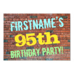 [ Thumbnail: Brick Wall Graffiti Inspired 95th Birthday + Name Invitation ]