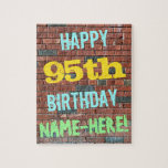[ Thumbnail: Brick Wall Graffiti Inspired 95th Birthday + Name Jigsaw Puzzle ]