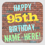 [ Thumbnail: Brick Wall Graffiti Inspired 95th Birthday + Name Sticker ]