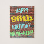[ Thumbnail: Brick Wall Graffiti Inspired 96th Birthday + Name Jigsaw Puzzle ]