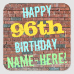 [ Thumbnail: Brick Wall Graffiti Inspired 96th Birthday + Name Sticker ]