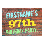 [ Thumbnail: Brick Wall Graffiti Inspired 97th Birthday + Name Invitation ]