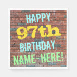 [ Thumbnail: Brick Wall Graffiti Inspired 97th Birthday + Name Napkin ]