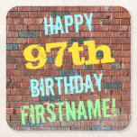 [ Thumbnail: Brick Wall Graffiti Inspired 97th Birthday + Name Paper Coaster ]