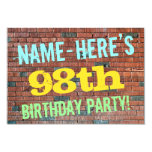 [ Thumbnail: Brick Wall Graffiti Inspired 98th Birthday + Name Invitation ]